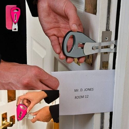 Sleep in peace. The Strong Portable Door Lock can travel with you anywhere. Keep intruders away and feel safe when you don't know who else has the keys. Lighter than a phone and provides stainless steel strong security.